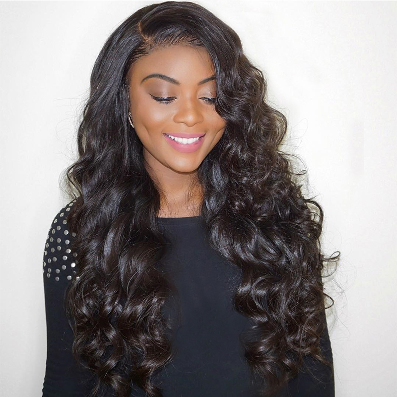 Бесклеевого парики объемная волна 250 плотность предварительно сорвал Full Lace натуральные волосы парики для женский, черный с ребенком волос Д...