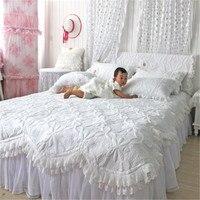 FADFAY Güzel Nevresim Setleri Beyaz Dantel Ruffled Yatak Set Lüks Yorgan Set Patchwork Yorgan Kapitone Set Kraliçe Boyutu 4 adet
