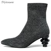 Stylesowner Elastic Knit Sexy Zipper Women Ankle Boots Strange Heels Ankle Boots Ladies Woolen Knit Stretch Sock Boots Heel Shoe