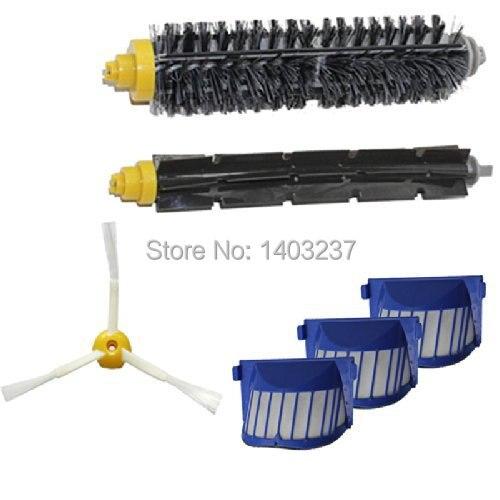 Aero Vac Filter Bristle Brush Flexible Beater Brush 3-Armed Side Brush Accessory for iRobot Roomba 600 Series (620 630 650 660)
