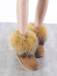 INOE/Модные женские зимние ботинки из коровьей замши с лисьим мехом; короткие зимние ботинки; Теплая обувь; Цвет черный, коричневый