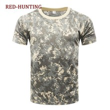 Outdoor Camouflage shirts Camping Tactical T-shirts Men Hiking Hunting Quick Dry Short Sleeve Army Camo Military Shirts(China)