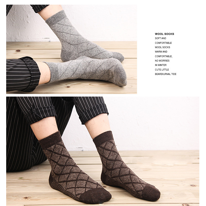 5 Pairs Lot Wool Socks Men Winter Cashmere Warm Casual Sock Meias Rhombus Pattern Virtual point