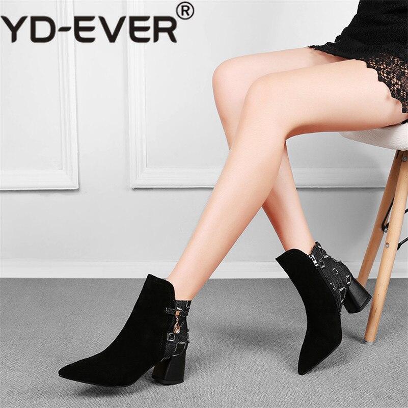 Botas Yd De Mujer ever Invierno Tobillo Fiesta Elegante Mujeres Sexy Diamantes Bombas azul Negro Cuadrados Boda Imitación Tacones Zapatos Otoño PIfvnI