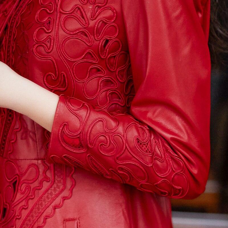 La Manteau Red Mouton Vêtements Véritable Ceinture Printemps Vestes Femmes Lwl1429 Réel De Tcyeek Cuir Plus Taille Naturel Femelle Pardessus En Peau 57gqXw