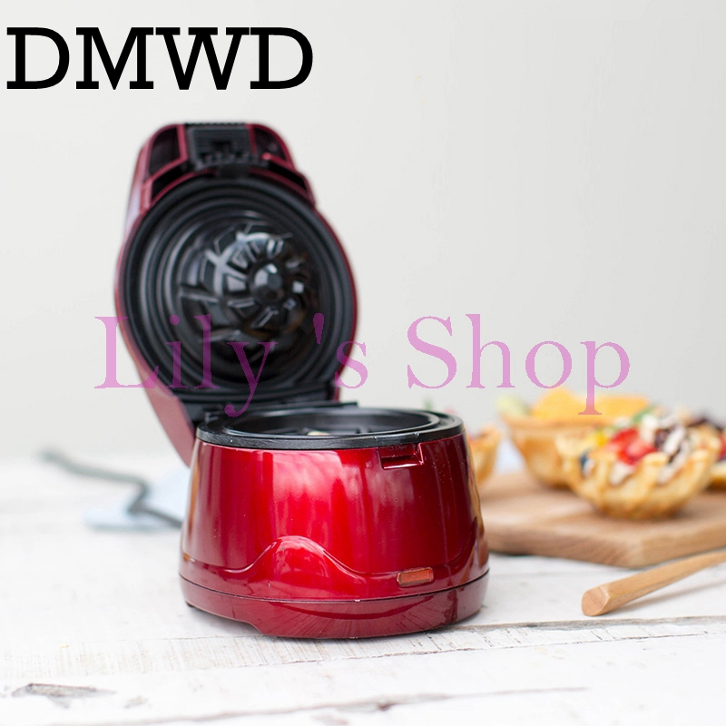 DMWD Electric Ice Cream egg Waffle Bowl Maker machine Iron Mold Plate Machine Baker Nonstick Commercial egg cake oven gift EU US