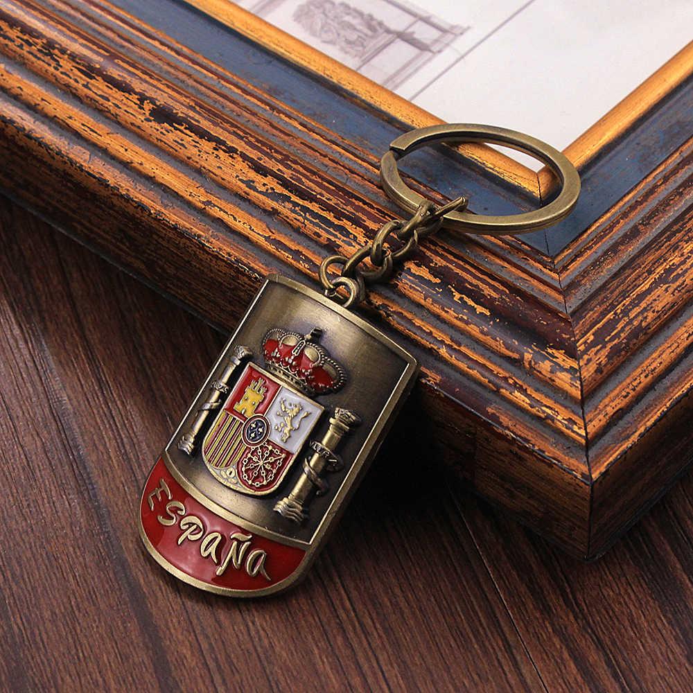 Vicney Mais Novo Emblema Nacional Da Espanha Chaveiro Arc-Shaped Chaveiro Retro Para Homens Vintage Antique Bronze Chave Charme para o Amigo