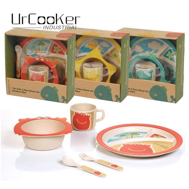 5Pcs Popular Food grade bamboo fiber CE/EU,FDA test improved Kids Dinnerware Set