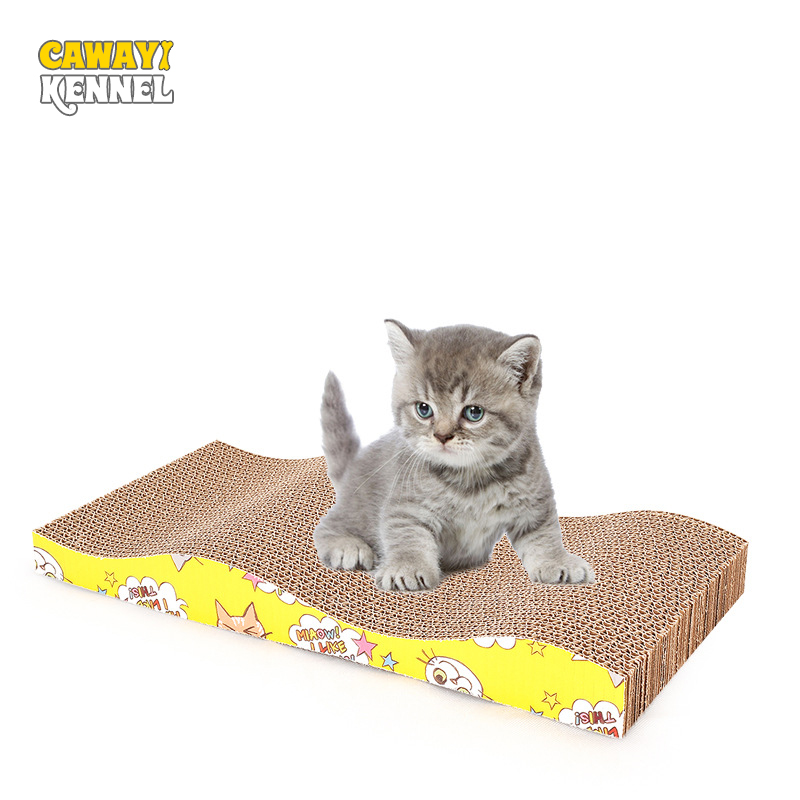 Cawayi Kennel Pet Cat Paper Wavy Durable Scraper Board  Kitten Scratching Post Cat Grinding Nail Toys Scratcher For Cats D1432