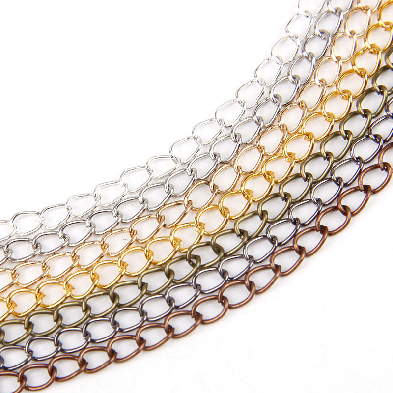 5m/lot 0.8x4.5x6mm Metal Iron Necklace Chains Open Link Chains Lot For DIY Jewelry