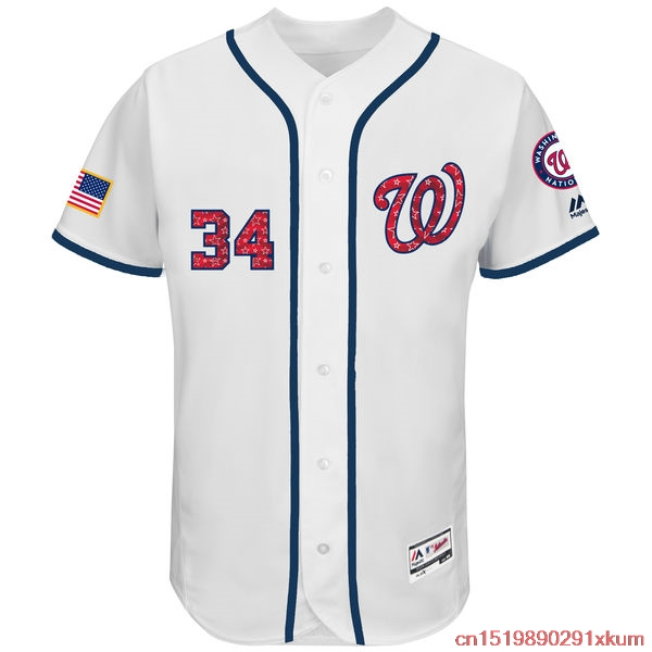 48570d82 ... Jersey MLB Mens Washington Nationals Bryce Harper Baseball White 2017  Stars Stripes Authentic Collection Flex Base Player Washington Nationals  Majestic ...