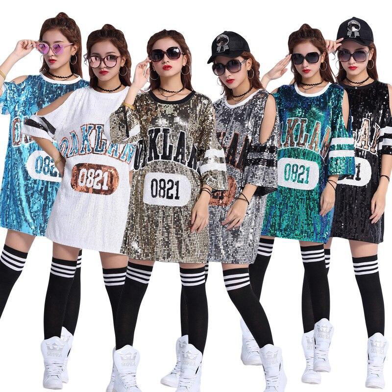 plus size t shirt women cut out shoulder glitter sequined t shirt dress  oversize vestidos verano 2447b15391bb