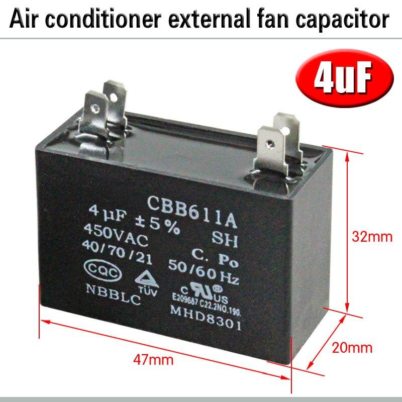 CBB61 кондиционер наружный вентилятор стартовый конденсатор с алюминиевой крышкой, 1,5/2/2,5/3/3,5/4/5/6/8 мкФ 450 вольтным и конденсатор с алюминиевой крышкой 4 вставки электромагнитный пускатель - Цвет: 4uF