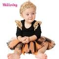 Halloween traje crianças menina tutu dress 2016 hot handmade flor bow princess dress comprimento do joelho fotografia novo da roupa do bebê