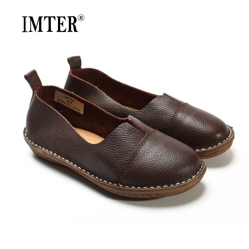 Women s Shoes Genuine Leather Slip on Loafers Round toe Coffee White Women s Shoes Flats