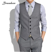 Brandwen Plus Size New British Style Men's Fashion Waistcoat Joker Trend High Quality Waistcoat Leisure Suit Vest