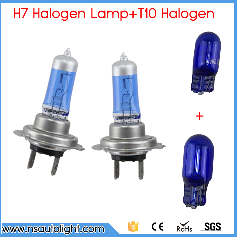 2pcs H7 Halogen bulb 6500K Super White auto headlight Fog light +2 PCS 501 194 W5W T10 Natural Blue Lamp Car Light