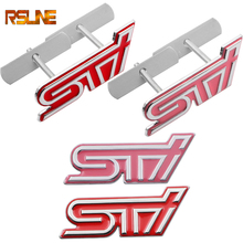 цена на Metal 3D Car Styling STI Front Grille Sticker Car Head Grill Emblem Badge for Subaru XV Legacy Forester Impreza STI WRX
