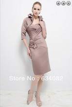 free shipping hot sell 2014 elegant dress plus size vestidos formales long sleeve short Mother of the Bride Dresses with jacket