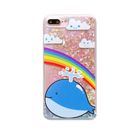 2017 Fashion hot music deer clouds rainbow whale cat fish love star sequins glitter flow liquid quicksand relief case For Iphone