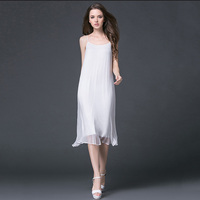 Summer Large Size M 4XL Women 100% Silk Dress 2018 New Fashion Sling Ladies Dress Solid Color Beach Casual Female Dresses NO244