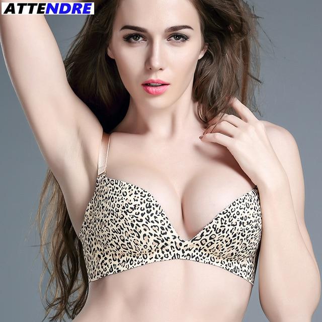 5a25c69914 ATTENDRE 2017 One-Piece Seamless Bra Italy Sexy Women Push-Up Wirefree leopard  print bra Lounge Underwear bralette small girl