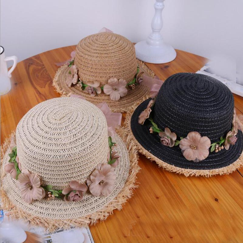 779bc9b9b44 2018 new Summer Fashion Sun Hats For Women Flower Floral Seaside Short  Eaves Raffia Straw Hat Girls Flat top Straw