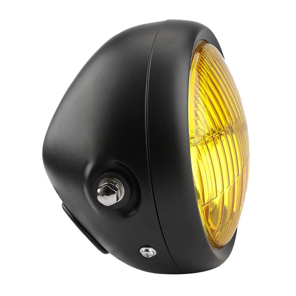6.5 couverture de gril de bâti de côté de phare de LED de moto rétro jaune pour le coureur de café