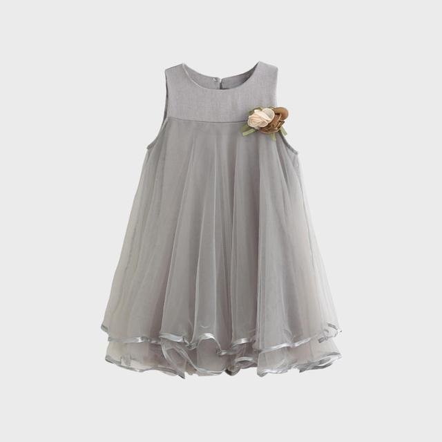 b42e77eb0e59 3 7 Years Hot Sale Fashion Baby Lovely Girls Flower Gray+Pink Dress ...