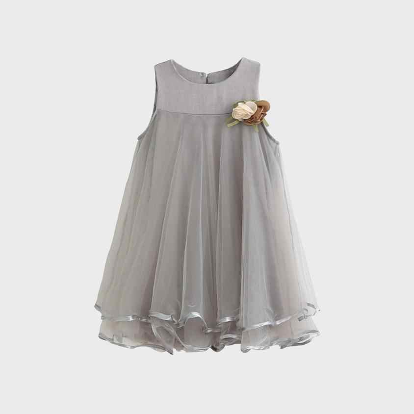 От 3 до 7 лет Лидер продаж модное милое серое платье с цветами для маленьких