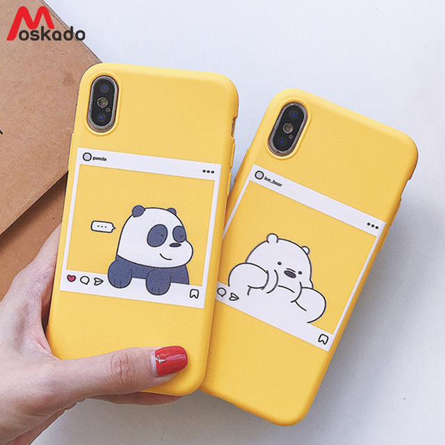 7ab935ccf4 Moskado Couples Cartoon Phone Cases For iphone X 8 7 6 6S Plus Cute Panda  Bear Duck Print Letters Skr Case Soft Silicone Cover