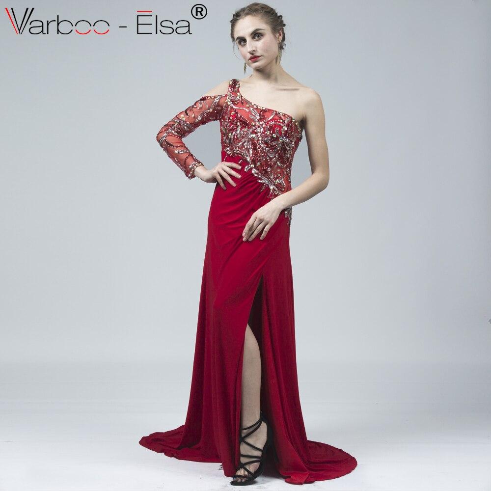 ea4a96f5fa VARBOO ELSA Sexy One-Shoulder Long Sleeve Evening Dresses vestido de festa  Side Split Crystal Prom Gown Red Chiffon robe longue