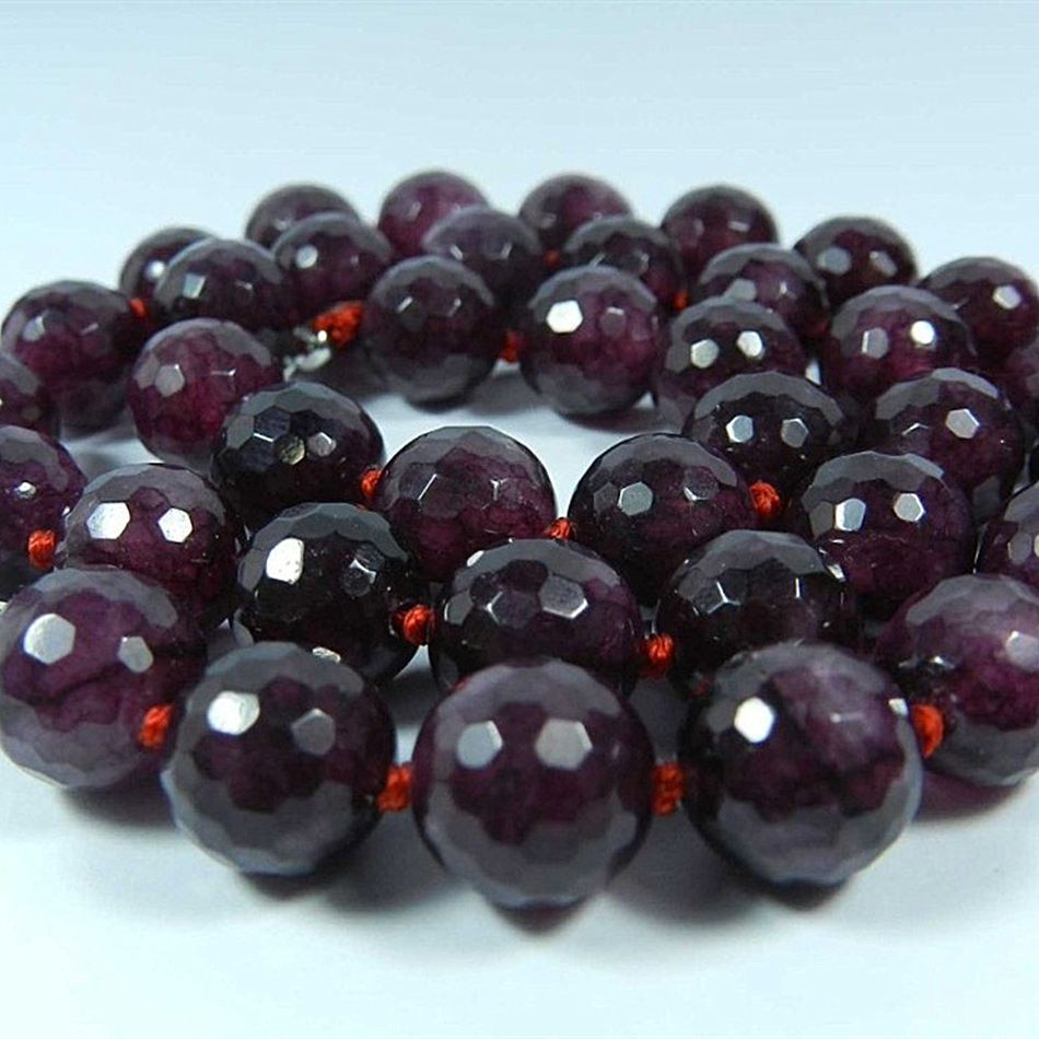 Indah faceted red Garnet batu 10mm mode putaran beads hot sale rantai - Perhiasan fashion - Foto 3
