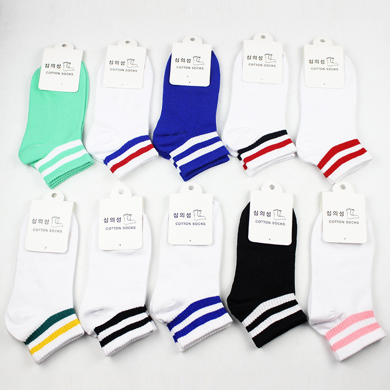 1 Pair Unisex Socks 7 Colors Two Bar Classic Stripes Lovers Socks School Wind Retro Leisure Socks Women Sock