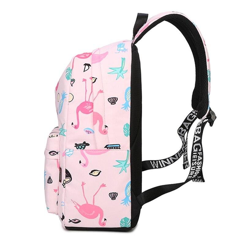 Waterproof Women Backpack Cute Bookbag Pink Flamingo Animal Knapsack Printing School Bagpack Bag For Teenage Girls Mochila #3