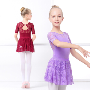 Image 5 - בנות בלט שמלת התעמלות בגדי גוף תחרה עקף בגדי גוף ארוך שרוול ילדים פעוט התעמלות בגד ים לריקודים