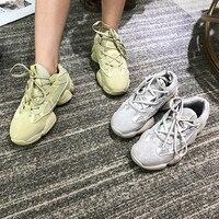 Ins/Лидер продаж, повседневная обувь Kanye, женские/мужские уличные кроссовки, дышащая обувь на плоской подошве со шнуровкой, Женская/Мужская се