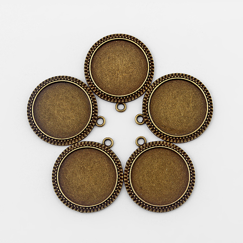 5pcs Antique Bronze 31mm Round Charm Pendant 24mm Trays Blank Bezel/Cabochon Setting Fit DIY Jewellery Making Findings