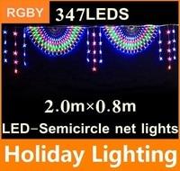 2 м * 0.8 м LED полукруг чистый свет шнура Garden Plaza открытый украшения 110 В 220 В 347 светодиоды рождественские украшения праздника Освещение