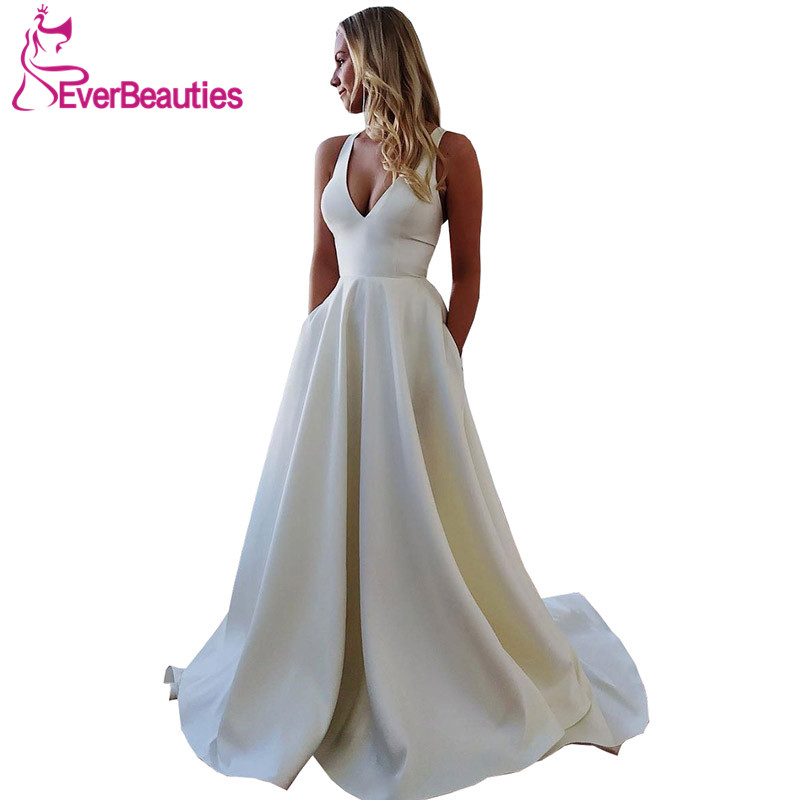 Vestidos De Novia A-line Wedding Dresses 2019 Satin V-Neck Dress Robe Mariage Bridal Gowns Festa