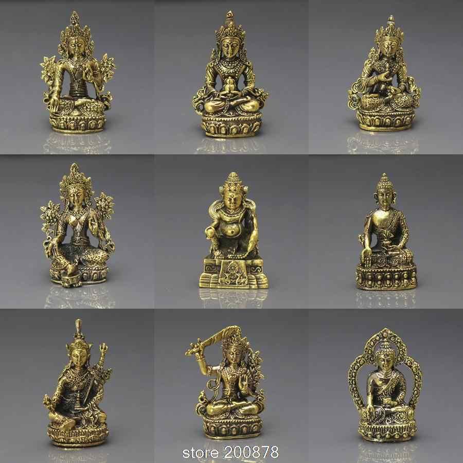 Hdc0683 티베트어 미니 포켓 부적 부처님 황금 불상 상태 장식 공예 연꽃 태어난 보물 컬렉션