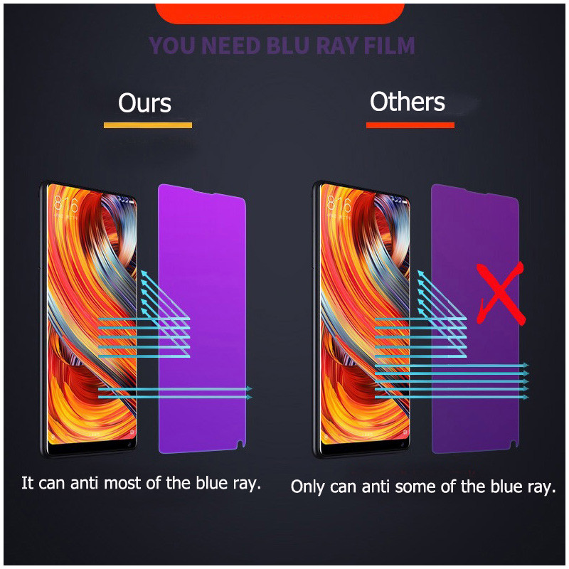 100 Full Coverage Anti Blue Screen Protector for OPPO F5 F7 F9 Anti Blue Purple Light Tempered Glass Film for OPPO F9 Pro Film in Phone Screen Protectors from Cellphones Telecommunications