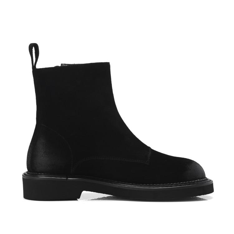Botas Mujeres Para 2019 Tamaño Nuevas Mujer Negro Las Cuero De Peluche Juguete Zapatos Plano Invierno {zorssar} Gamuza Otoño Gran E Tacón marrón Tobillo qpAIt4cI