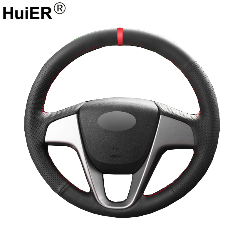 HuiER Hand Sew Car Steering Wheel Cover Red Marker For Hyundai Solaris Verna i20 2008-2012 Accent Car Styling Car Protector