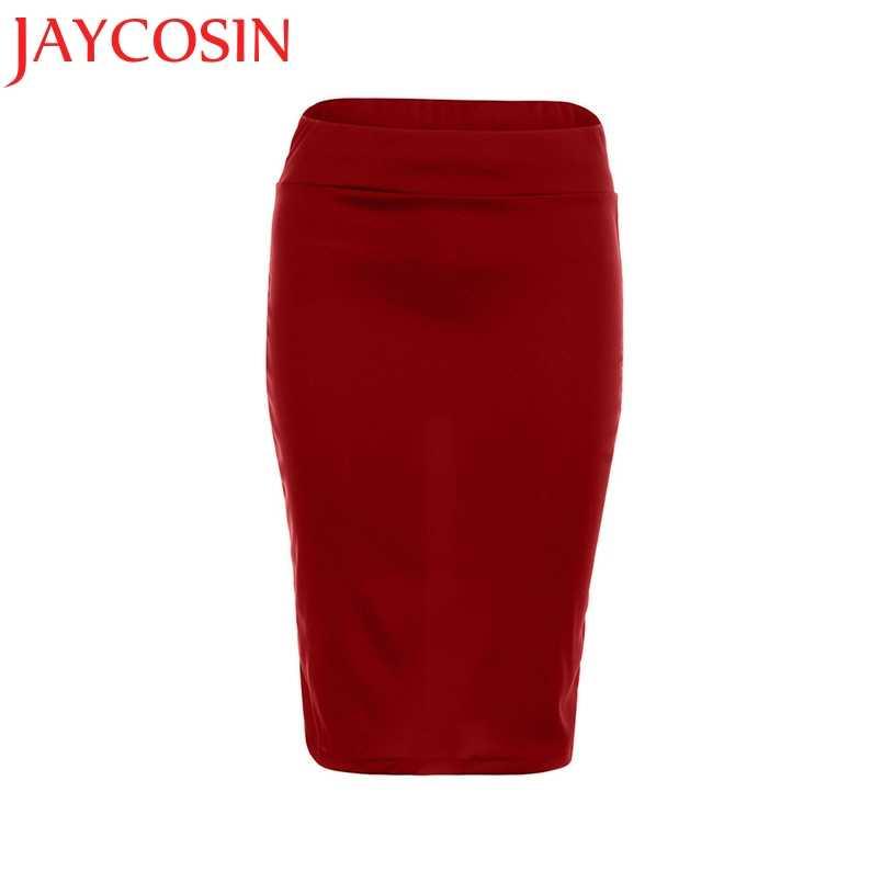 ed750e90ea ... JAYCOSIN High Waist Pencil Skirts Bodycon Fashion Women Midi Skirt Red  Black Purple Slit Women's Skirt