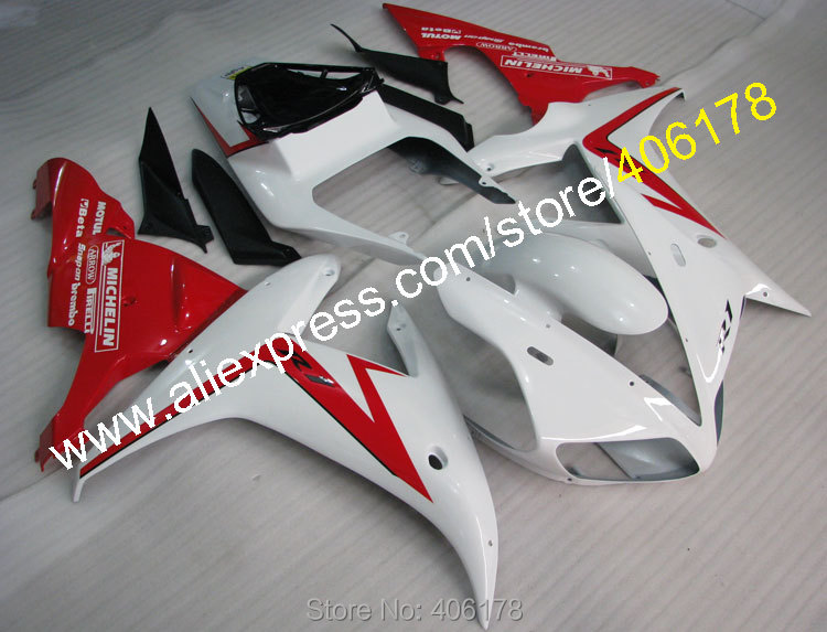 Hot Sales,For YAMAHA Fairing 02 03 YZFR1 YZF R1 2002 2003 Red White Aftermarket ABS Body work Fairing (Injection molding)