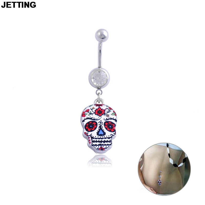 Wholesales 1Pc Body Jewelry Belly Button Piercing Creative Painted Skull Navel Button Ring Stainless Steel Piercing Dangle Ring