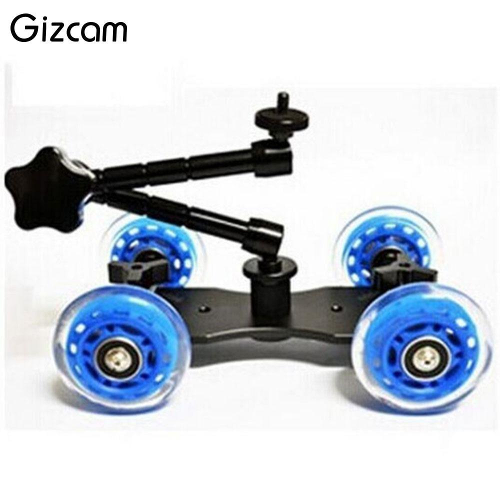 Gizcam Universal Mini Desktop Rail Rolling Track Slider Skater Table Dolly Car Flexible 4 Wheel For