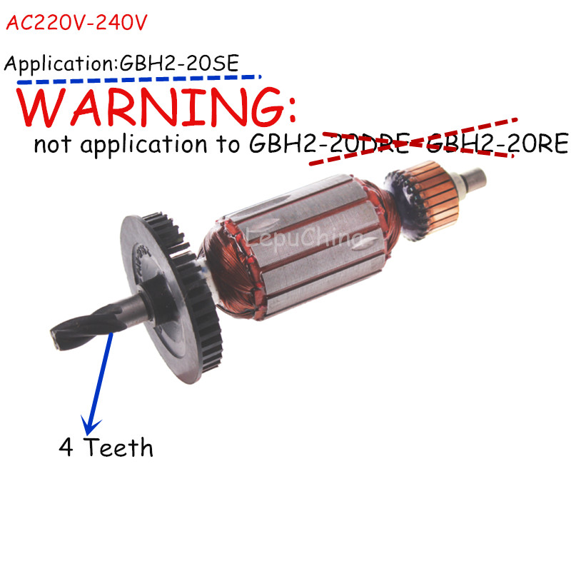 Ac220v-240v The 4 Teeth Armature Rotor Replacemnt For BOSCH GBH2-20SE Only!!!!!