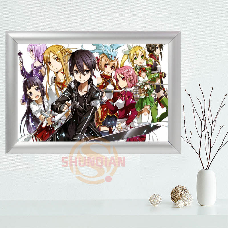 custom sword art online canvas frame aluminum alloy painting fabric frame home decor canvas picture frame